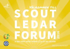Texten Scoutledarforum mot gul bakgrund